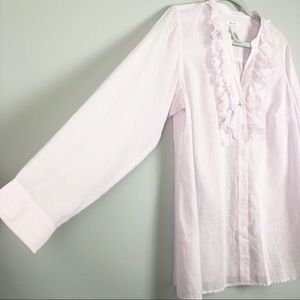 liz & co. Tops - Liz & Co. Pink and White Striped Shirt